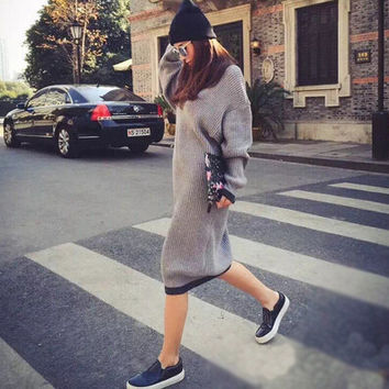Ankle Length Knitted Sweater Dress