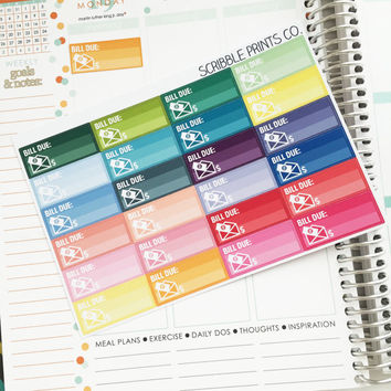 24 Mini Bill Tracker Die-Cut Stickers // (Perfect for Erin Condren Life Planners)