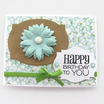 Happy Birthday To You Card, Teal, Flower Birthday Card, Green