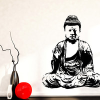 Wall Vinyl Decal Sitting Buddha Buddhism Monk Religion Decor Unique Gift z4641