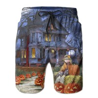 Spooky Manor - Decorative Halloween Fall Jack O Lantern Pumpkin Mens Fashion Casual Beach Shorts