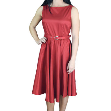 60's Vintage Design Rockabilly First Love Red Satin Flare Party Dress