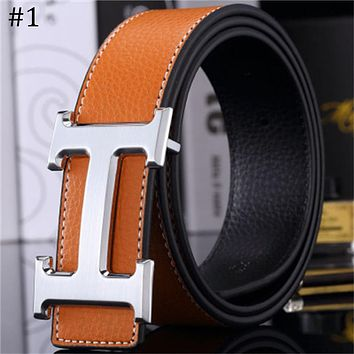 Hermes trend versatile simple H buckle casual men and women smooth buckle belt