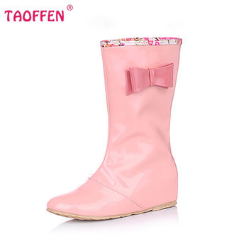 Candy Colors Rain Boots New Fashion Bowknot Mid-Calf Women Boots Slip On Flats Spring Autumn Ladies Shoes WomanSize 34-43 K00392