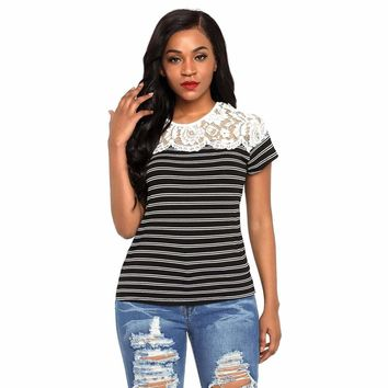 Black Striped Cap Sleeve Top with Lace Detail