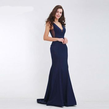 Dark Blue Elegant Prom Dresses Long Deep V-Neck Sexy Backless Simple Party Gowns Mermaid Evening Dress