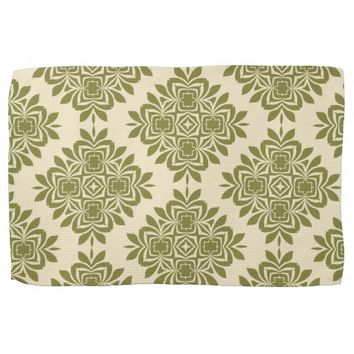 Green Mint Damask Pattern Kitchen Towel