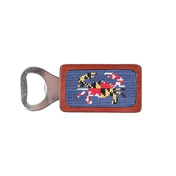 Maryland Flag Crab Needlepoint Bottle Opener in Classic Navy by Smathers & Branson