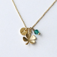 Gold tiny Clover necklace, four leaf necklace personalized initial, Lucky wish, dainty petite minimalist, Bridal Necklace, Bridesmaids Gift