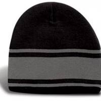 Fine Knit Beanie With Three Contrasting Stripes   Promotional Toques & Beanies