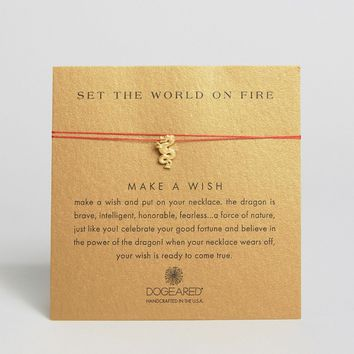 Dogeared Gold Plated Set the World On Fire Dragon Make A Wish Necklace