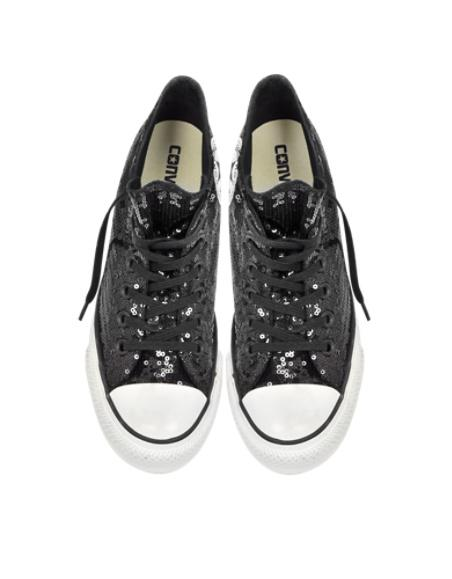 Converse Limited Edition Designer Shoes All Star Mid Lux Black Sequins and  Canvas Wedg 25a5b1d3d48d
