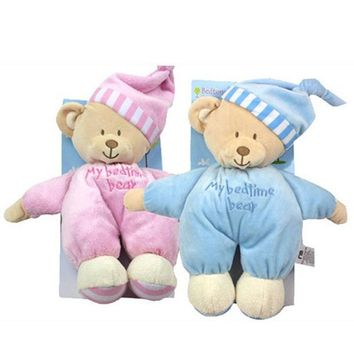 2017 NEW Sleeping Bear with Tags and CE 32CM Length Cute Baby Soft Toys Blue Pink Plush for Kids Stuffed Valentine Dolls HT3076