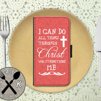 I Can Do All Things Through Christ Who Strengthens Me Quote Pink Wallet Phone Case For iPhone 4/4s and iPhone 5/5s/5c iPhone 6 and 6 Plus +