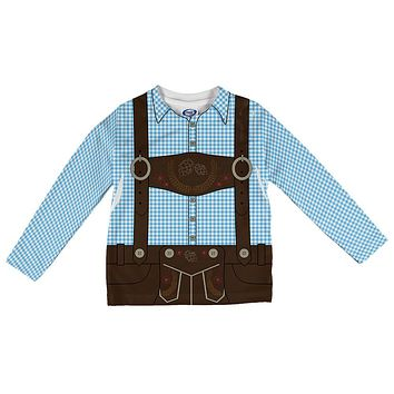 Oktoberfest Lederhosen Costume Brown Suspenders Blue Plaid Toddler Long Sleeve T Shirt