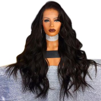 DLME 180% Density Black Wigs Side Part Long Body Wave Heat Resistant Hair Synthetic Lace Front Wigs With Baby Hair For Women
