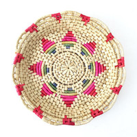 Vintage Coiled Raffia Basket with Colorful Star Pattern / Rainbow Weave / Unique Storage / Table Decor