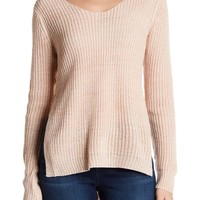 PLANET GOLD | Gigi Marled V-Neck Knit Sweater | Nordstrom Rack