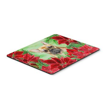 French Bulldog Poinsettas Mouse Pad, Hot Pad or Trivet CK1336MP