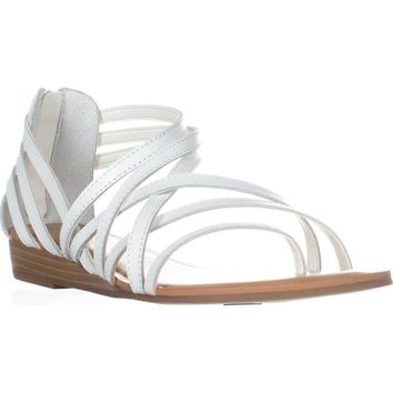 Carlos by Carlos Santana Amara Low Wedge Gladiator Sandals, White, 8 US / 38 EU