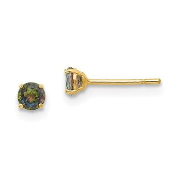 14K Yellow Gold Madi K Round Mystic Topaz 3mm Post Earrings