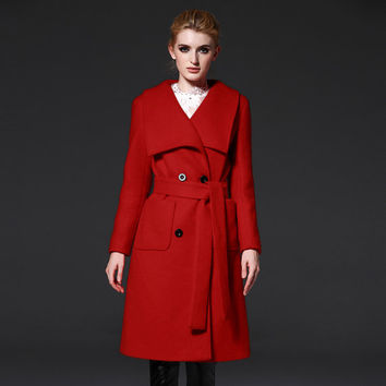 Women's Red  Wool Coat -  Double Breasted Wool Coat- Lace-up wool coat- Big lapel- winter coat-Wool jacket-pastel coat-minimalist coat