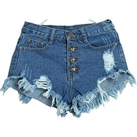 New windmills in Europe and America in spring and summer breaks Flash denim shorts girl hole hot row vestidos LX049