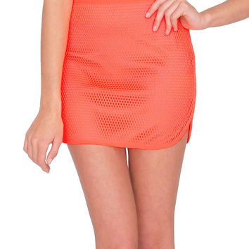 Club House Mini Skirt - Neon Orange