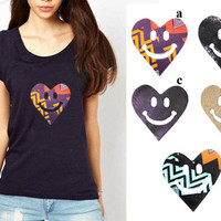 Smiley Heart Heat Transfer Applique Designs for Fashion by KBazaar