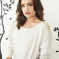 Roxy - Light Grey Studded Jumper