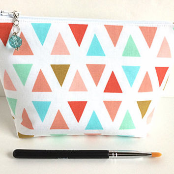 Small Makeup Bag, Triangle Zipper Pouch, Birthday Gift, Cosmetic Bag