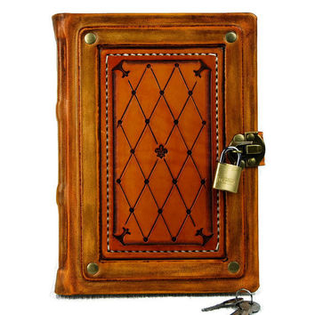 Leather Binding Book Gift Book Lock Book Fleur de Lis Book Leather Journal Notebook Diary TiVergy Book