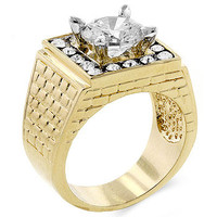 Round Center CZ Trimmed CZ Two-Toned Mens Ring