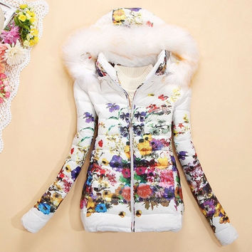 jacket women fashion down cotton jacket Floral printing long sleeve Slim short fur collar hooded coat = 1931560196