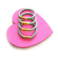 SALE - Sky Blue Leather Stackable Ring with Gold Accents
