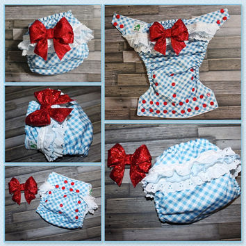 Wizard of Oz Inspired Dorothy OS Pocket  Diaper or Diaper Cover
