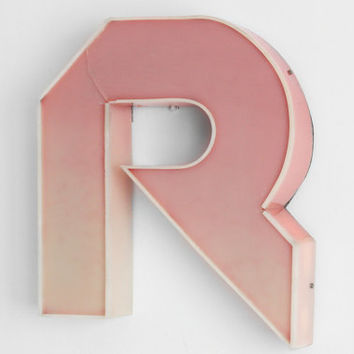 """Large Industrial Letter """"R""""  / Reclaimed Salvaged Socialist Signage Advertising / Romania - 70s"""