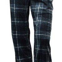 Perry Ellis Men's Plaid Fleece Pajama Pants (S, Grey/Black)