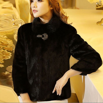 Large Size 5XL 6XL Faux Fur Bolero Jacket For Women Warm Winter Rabbit Fur Coats Mink Marten Fur Coat Overcoat Stand Collar