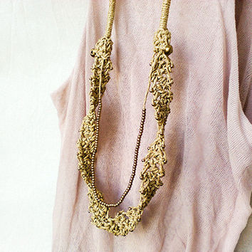 Boho Long Necklace, Beaded Necklace, Multi Strand Necklace, Rustic Wedding Necklace, Brass Bead Necklace, Bohemian jewelry, Mothers necklace