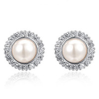 "Crystal Pearl Wedding Formal Silver / Plugs Gauges Stretchers Earrings / Stretched Gauged Ears / 6g 4g 2g 0g 00g 7/16"" 1/2"" 9/14"" (4mm-14mm)"