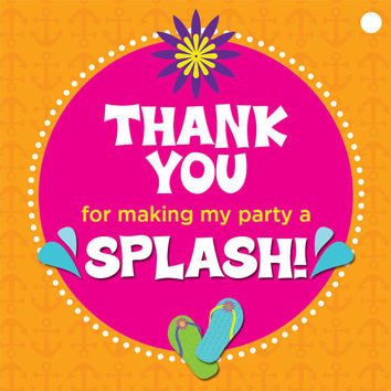 Beach Theme Thank You Tags: Thank you for making my party a splash!