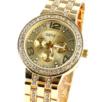Womens Geneva Quartz Watch - Stainless Steel