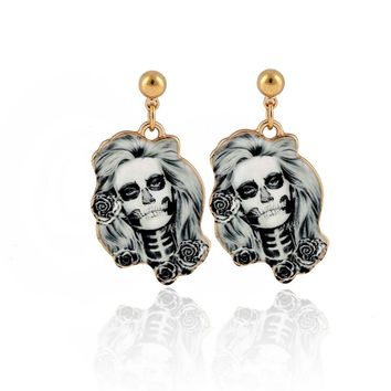 1Pair Calavera Sugary-sweet whimsical skull Earrings celebrate Mexican Day of the Dead Sugar Skull