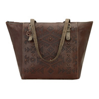 Mystic Shadow Zip Top Bucket Tote - Chestnut Brown