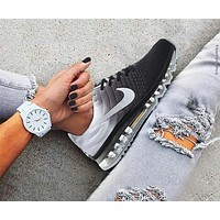 """NIKE"" Air Max Section Classic Trending Men Stylish Casual Sports Shoes Sneakers Grey White I/A"