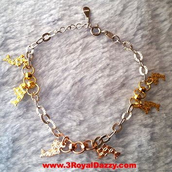 14k Rose, Yellow, White Gold Layer on 925 Sterling Silver Twin Dolphin Charms Bracelet