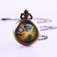 Doctor Who necklace , Exploding Tardis Dr. Who van gogh , Dr. Who Pocket Watch Woman Necklace ,Antique Necklace ,Girls Personalized Gift
