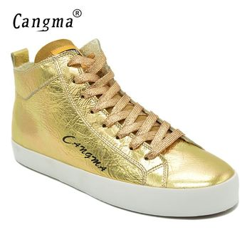 CANGMA Famous 2017 Women's Shoes Handmade Platform Sneakers Gold Flats Patent Genuine Leather Shoes Mid Female Lace Up Footwear
