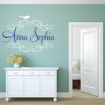 Personalized Name Decal with Bird, Bird Decor, Bird Name Decal, Nursery Name Decal, Fancy Name Decal, Birds Decal, Shabby Chic